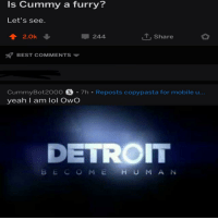 Best Copypasta: Is Cummy a furry?  Let's see.  2.Ok  244  T, Share  BEST COMMENTS  CummyBot2000 S 7h . Reposts copypasta for mobile u...  yeah I am lol Owo  DETROIT  BECOME HUMA N