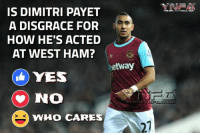 IS DIMITRI PAYET  A DISGRACE FOR  HOW HE'S ACTED  AT WEST HAM?  Metway  YES  No  WHO CARES  THU GPL POOT BALL HUND