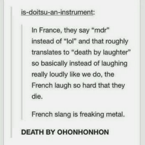 "20+ Funny Tumblr Posts Show Why Everyone Loves Tumblr (Episode #272): is-doitsu-an-instrument:  In France, they say ""mdr  instead of ""lol"" and that roughly  translates to ""death by laughter""  so basically instead of laughing  really loudly like we do, the  French laugh so hard that they  die.  French slang is freaking metal.  DEATH BY OHONHONHON 20+ Funny Tumblr Posts Show Why Everyone Loves Tumblr (Episode #272)"
