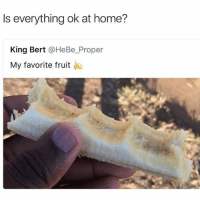 Lol, Home, and Dank Memes: Is everything ok at home?  King Bert @HeBe_Proper  My favorite fruit Lol whyy (@thebraintickle)