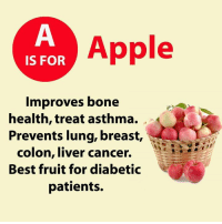 Learning ABC again :): IS FOR  Apple  Improves bone  health, treat asthma.  Prevents lung, breast,  colon, liver cancer.  Best fruit for diabetic  patients. Learning ABC again :)