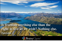 Memes, Live, and Freedom: Is freedom anything else than the  right to live as we wish? Nothing else.  Epictetus  Brainy  Quote