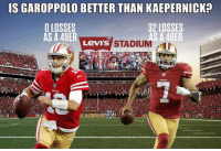 Nfl, Levis, and 49er: IS GAROPPOLO BETTER THAN KAEPERNICK?  O LOSSES  AS A 49ER  32 LOSSES  AS A 49ER  LevIs STADIUM The numbers don't lie. 😂