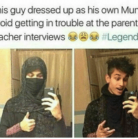 😚😚😚😚 Whenever works 😎😎: is guy dressed up as his own Mur  oid getting introuble at the parent  acher interviews 😚😚😚😚 Whenever works 😎😎