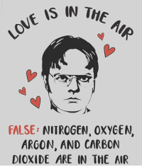 Love? False!: IS IN THE  FALSE: NITROGEN, OXYGEN,  ARGON, AND CARBON  DIOXIDE ARE IN THE AIR Love? False!
