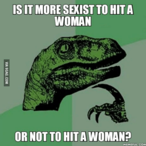Deadpool, Got, and Com: IS IT MORE SEXIST TO HIT A  WOMAN  OR NOT TO HIT A WOMAN?  MEMEFUL.COM Deadpool got me thinking