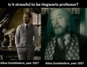 laughoutloud-club:  Well he didn't age well: Is it stressful to be Hogwarts professor?  Albus Dumbledore, year 1927  Albus Dumbledore, year 1937 laughoutloud-club:  Well he didn't age well