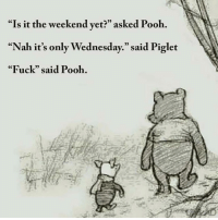 """Pooh is right @_theblessedone 😞 Postcreds @unilad: """"Is it the weekend vet?"""" asked Pooh.  """"Nah it's only Wednesday."""" said Piglet  """"Fuck"""" said Pooh.  05 Pooh is right @_theblessedone 😞 Postcreds @unilad"""