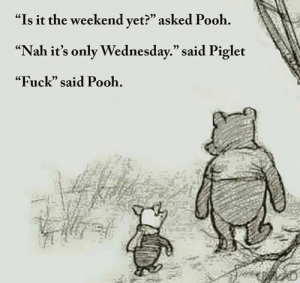 """me irl: """"Is it the weekend vet?"""" asked Pooh.  """"Nah it's only Wednesday."""" said Piglet  """"Fuck"""" said Pooh.  (C  05 me irl"""