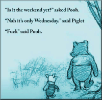 """meirl: """"Is it the weekend yet?"""" asked Pooh.  """"Nah it's only Wednesday."""" said Piglet  """"Fuck"""" said Pooh.  CE  0) meirl"""