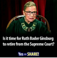 Ginsburg: Is it time for Ruth Bader Ginsburg  to retire from the Supreme Court?  Yes SHARE!