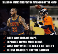 Facts, LeBron James, and Nba: IS LEBRON JAMES THE PEYTON MANNING OFTHE NBA?  ANS  BOTH WON LOTS OF MVPS  EXPECTED TO WIN MORE RINGS  WISH THEY WERE THE G.O.A.T BUT AREN'T  REFUSE TO ACCEPTTHEY RE BALDING Facts or nah?