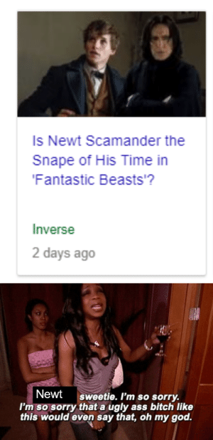Ass, Bitch, and God: Is Newt Scamander the  Snape of His Time in  Fantastic Beasts'?  Inverse  2 days ago   Newt sweetie. I'm so sorry.  I'm so sorry that a ugly ass bitch like  this would even say that, oh my god.