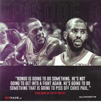 "Chris Paul, Paul Ryan, and Rajon Rondo: iS  ""RONDO IS GOING TO DO SOMETHING. HE'S NOT  GOING TO GET INTO A FIGHT AGAIN. HE'S GOING TO DO  SOMETHING THAT IS GOING TO PISS OFF CHRIS PAUL.""  RYAN WARD ON THE CP PODCAST  BETONLINE. AG Will Rajon Rondo stir things up on Thursday night? 🤔 — @betonline_ag"