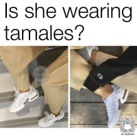 Memes, 🤖, and Tamales: Is she wearing  tamales?  SC: BLSNAPZ