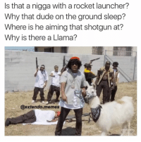 Blackpeopletwitter, Dude, and Memes: Is that a nigga with a rocket launcher?  Why that dude on the ground sleep?  Where is he aiming that shotgun at?  Why is there a Llama?  @extendo.memes  aduit shim <p>She won&rsquo;t a young nigga (via /r/BlackPeopleTwitter)</p>