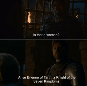 Jaime and Brienne started off rough 😂 https://t.co/kUhCaQdboM: Is that a woman?  Arise Brienne of Tarth, a Knight of the  Seven Kingdoms. Jaime and Brienne started off rough 😂 https://t.co/kUhCaQdboM