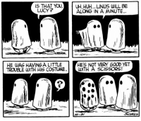 Huh, Memes, and Good: IS THAT  YOU, UH,HUH... LINUS WILL BE  LUCY?  ALONG IN A MINUTE  HES NOT VERY GOOD YET  HE WAS HAMINGA LITTLE  TROUBLE WITH HIS COSTUME  WITH A SCISSORS!  KO-37 This strip was published on October 31, 1956. 👻👀