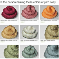 Relatable, Blood, and Silk: Is the person naming these colors of yarn okay  Poisoned blood -Silk/Cashmere Lace  Crumbling brick ruin OOAK Silk/Cas...  Too much Aperol Spritz Silk/Cashme  US$2617  US$2617  US$26.17  Collapsed Creme Caramel Sil/Cash Ghost -natural Silk/Cashmere Lace Ya... Fango Silk/Cashmere Lace Yarn  US$26.17  US$18.21  US$26.17 tag urself i'm crumbling brick ruin