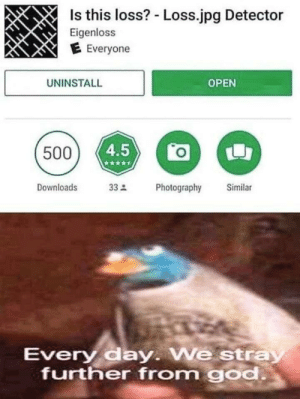 God, Open, and Day: Is this loss? - Loss.jpg Detector  Eigenloss  E Everyone  UNINSTALL  OPEN  500  Downloads  33Photography  Similar  Every day We stray  further from god An interesting title