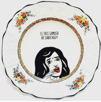Crying, Memes, and Party: IS THIS SAMOSA  OR SABOTAGE?l ✨DON'T CRY OVER SPILT CHAI✨ SWIPE RIGHT TO SEE THE FULL COLLECTION I will be exhibiting the new plate collection by @loubrownvintage and myself at ANOTHER tea party in March. Details to come shortly. In the meantime, ISKO DEKHOOOOO