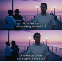 Memes, True, and 🤖: Is this the start  of something wonderful  Or one more dream  that I cannot make true? La La Land (2016)