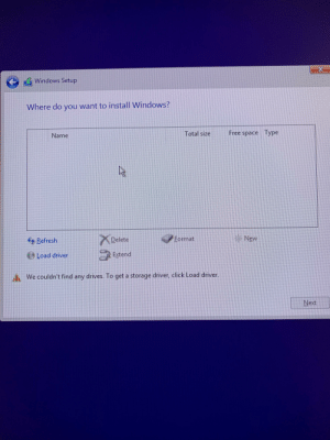 Is this where my m.2 ssd is meant to show up? My pc is saying it can't find any drivers and I'm not sure if that is the Bootable USB I'm installing windows from or my m.2 ssd I'm installing windows to.: Is this where my m.2 ssd is meant to show up? My pc is saying it can't find any drivers and I'm not sure if that is the Bootable USB I'm installing windows from or my m.2 ssd I'm installing windows to.