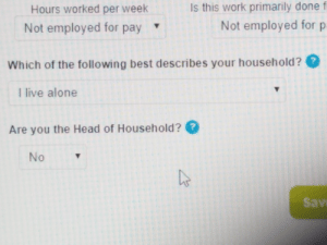 Meirl: Is this work primarily done f  Hours worked per week  Not employed for p  Not employed for pay  Which of the following best describes your household??  I live alone  Are you the Head of Household ?  No  Sav Meirl