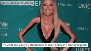 Mariah Carey, Skinny, and Tumblr: IS VUITTON UNIC  THESTANCONFESSIONS.TUMBLR  Ball  Ball  2 LOUIS VUIT  S FUND  first.  It's 2018 and can you still believe Mariah Carey is a skinny legend?  INICE her waist is POW