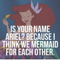 IS YOUR NAME  ARIEL? BECAUSE I  THINK WE MERMAID  FOR EACH OTHER For all the Disney fans out there and the people who know my actual name :P