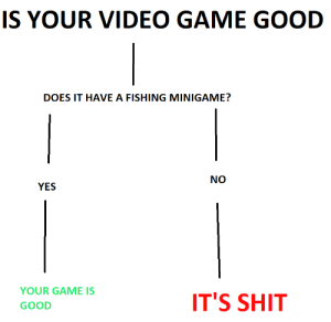 deepnest:  radium-on-the-beach:This but flip them : IS YOUR VIDEO GAME GOOD  DOES IT HAVE A FISHING MINIGAME?  NO  YI'S  YOUR GAME IS  GOOD  ITS SHIT deepnest:  radium-on-the-beach:This but flip them
