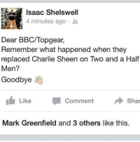 Dear BBC-Topgear... theLADbible: Isaac Shelswell  4 minutes ago  Dear BBC/Topgear,  Remember what happened when they  replaced Charlie Sheen on Two and a Half  Men?  Goodbye  h Like  Comment  Shar  Mark Greenfield and 3 others like this. Dear BBC-Topgear... theLADbible