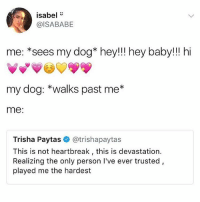 My dogs are the fakest bitches I've ever met they like me when I have food or snacks or when my mom isn't around Girl fuck you: isabel  @ISABABE  me: *sees my dog* hey!!! hey baby!! hi  my dog: *walks past me*  me:  Trisha Paytas@trishapaytas  This is not heartbreak , this is devastation.  Realizing the only person I've ever trusted  played me the hardest My dogs are the fakest bitches I've ever met they like me when I have food or snacks or when my mom isn't around Girl fuck you