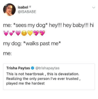 Follow fellow teamnoharmdone member @vodkalana @vodkalana @vodkalana I love her page ❤️: isabel  @ISABABE  me: *sees my dog* hey!!! hey baby!!! hi  my dog: *walks past me*  me:  Trisha Paytas @trishapaytas  This is not heartbreak, this is devastation.  Realizing the only person I've ever trusted,  played me the hardest Follow fellow teamnoharmdone member @vodkalana @vodkalana @vodkalana I love her page ❤️