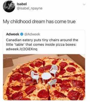 I never knew what this was until the truth was revealed: Isabel  @isabel npayne  My childhood dream has come true  Adweek  @Adweek  Canadian eatery puts tiny chairs around the  little 'table' that comes inside pizza boxes:  adweek.it/20iEKnq I never knew what this was until the truth was revealed