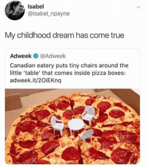 Boxes: Isabel  @isabel npayne  My childhood dream has come true  Adweek  @Adweek  Canadian eatery puts tiny chairs around the  little 'table' that comes inside pizza boxes:  adweek.it/20iEKnq