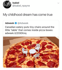 Ironic, Pizza, and True: Isabel  @isabel_npayne  My childhood dream has come true  Adweek @Adweek  Canadian eatery puts tiny chairs around the  little 'table' that comes inside pizza boxes:  adweek.it/2OiEKnq They would