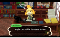 lacepantsu:  coolyo294: isabelle plans her coup d'etat  LIKE and REBLOG if you would support her bloody revolution : Isabelle  Maybe I should be the mayor instead... lacepantsu:  coolyo294: isabelle plans her coup d'etat  LIKE and REBLOG if you would support her bloody revolution
