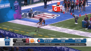 ISAIAH. SIMMONS. 🔥  4.39u 40-yard dash for the 238-pound linebacker! @ClemsonFB @IsaiahSimmons25  📺: #NFLCombine on @NFLNetwork 📱: https://t.co/vDFxxNddNZ https://t.co/JxE6S23FWB: ISAIAH. SIMMONS. 🔥  4.39u 40-yard dash for the 238-pound linebacker! @ClemsonFB @IsaiahSimmons25  📺: #NFLCombine on @NFLNetwork 📱: https://t.co/vDFxxNddNZ https://t.co/JxE6S23FWB