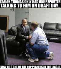 This is amazing 🙌💯: ISAIAH THOMAS ONLY HAD ONE REPORTER  TALKING TO HIM ON DRAFT DAY  @NBAMEMES  NOW HE'S ONE OFTHE TOP PLAYERS IN THE LEAGUE This is amazing 🙌💯