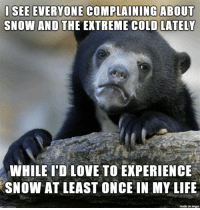 Life, Love, and Imgur: ISEE EVERYONE COMPLAINING ABOUT  SNOW AND THE EXTREME COLD LATELY  WHILE T'D LOVE TO EXPERIENCE  SNOW AT LEAST ONCE IN MY LIFE  made on imgur Someday