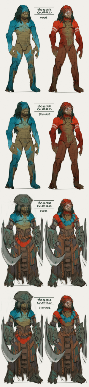 "isei-silva:  You know that friend I was RPing with our Predators/Yautja? Oh yeah, we're deep in worldbuilding, baby. While we know that Predators are often presented in their hunting armor and gear, I like to see it as a practical set much like our modern human combat armor is. It's light, it's tough, it's sleek, and does what it needs to do. But, back in Yautja Prime, we've allowed their natural culture and social structures to rise based on what we do know of canon lore so far. Keep in mind that no major species' civilizations are the same across its entire planet and set in stone. Much like we find VAST diversity in human culture depending on location, social structures, history, religions, mythos, etc… We have to allow Yautja the same courtesy. Meaning that some areas of Yautja Prime may reflect one aspect of their culture more strongly, others may favor another. Some may be more down to earth and wordly, others more technologically inclined and modern. Blood, Hunt, and Honor are the canopy of a very old tree rooted by long, branching roots. Above are the Honor Guard for the Council of Matriarchs, and the Council of Elders. The Matriarchs tend to mostly on-world matters, the Elders to off-world matters. This is based on a belief called the Three Bloods.From the RP:[""The Council of Matriarchs dealt with on-world matters because females were the First Blood of any yautja. Blood of the womb. Males dealt with off-world matters because they were often a yautja's Second Blood, the blood of battle and the hunt. All yautja spent their entire life proving themselves for their next Blood. First, to survive after the womb, violent and uncertain and marked with danger outside of their control. Then through strict discipline and training to become Blooded and spill their own upon their brow to make their mark. The First and Second Blood. It was then the responsibility of both Councils to ensure that all yautja could earn their Third Blood - the blood of death.   The Third Blood was not judged by Elders or Matriarchs, but by the gods.""]I designed the Honor Guard to reflect Native Middle and South American culture as a quiet nod to the original Alien versus Predator 2004 movie.We hope you enjoy!: isei-silva:  You know that friend I was RPing with our Predators/Yautja? Oh yeah, we're deep in worldbuilding, baby. While we know that Predators are often presented in their hunting armor and gear, I like to see it as a practical set much like our modern human combat armor is. It's light, it's tough, it's sleek, and does what it needs to do. But, back in Yautja Prime, we've allowed their natural culture and social structures to rise based on what we do know of canon lore so far. Keep in mind that no major species' civilizations are the same across its entire planet and set in stone. Much like we find VAST diversity in human culture depending on location, social structures, history, religions, mythos, etc… We have to allow Yautja the same courtesy. Meaning that some areas of Yautja Prime may reflect one aspect of their culture more strongly, others may favor another. Some may be more down to earth and wordly, others more technologically inclined and modern. Blood, Hunt, and Honor are the canopy of a very old tree rooted by long, branching roots. Above are the Honor Guard for the Council of Matriarchs, and the Council of Elders. The Matriarchs tend to mostly on-world matters, the Elders to off-world matters. This is based on a belief called the Three Bloods.From the RP:[""The Council of Matriarchs dealt with on-world matters because females were the First Blood of any yautja. Blood of the womb. Males dealt with off-world matters because they were often a yautja's Second Blood, the blood of battle and the hunt. All yautja spent their entire life proving themselves for their next Blood. First, to survive after the womb, violent and uncertain and marked with danger outside of their control. Then through strict discipline and training to become Blooded and spill their own upon their brow to make their mark. The First and Second Blood. It was then the responsibility of both Councils to ensure that all yautja could earn their Third Blood - the blood of death.   The Third Blood was not judged by Elders or Matriarchs, but by the gods.""]I designed the Honor Guard to reflect Native Middle and South American culture as a quiet nod to the original Alien versus Predator 2004 movie.We hope you enjoy!"