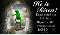 """Shit, Death, and Http: isen.  Death could not  hold him.  Rejoice in the  resurrection of  DAT BOI!!!!  MATTHEW 28 <p>oh shit rejoice via /r/DatBoi <a href=""""http://ift.tt/2m7kR4r"""">http://ift.tt/2m7kR4r</a></p>"""