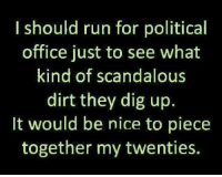 Run, Office, and Nice: Ishould run for political  office just to see what  kind of scandalous  dirt they dig up.  It would be nice to piece  together my twenties.