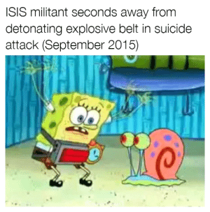 FOR THE KRUSTY KRAB: ISIS militant seconds away from  detonating explosive belt in suicide  attack (September 2015) FOR THE KRUSTY KRAB