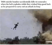"""All Lives Matter, America, and Isis: 'ISIS suicide bomber accidentally kills 12 comrades  as he prepared to carry out an attack in Iraq  IG @trump_mania """"An ISIS suicide bomber accidentally killed 12 comrades when his belt exploded while they wished him good luck ahead of a planned attack in Iraq, is has been reported. The terrorists were giving their comrade a send-off in Diyala when his explosives detonated prematurely, according to a top police official."""" trump trumpeffect buildthatwall mikepence conservative republican rnc 2a pewpew america nra trumptrain donaldtrump womenfortrump donttreadonme draintheswamp benghazi bluelivesmatter 2ndamendment altright MakeAmericaGreatAgain patriots gop imwithyou president usa alllivesmatter trumpmemes maga deplorables -Partners - @virginians_4trump @it.aint.obama @conservative.nj @brunetteandpolitical"""