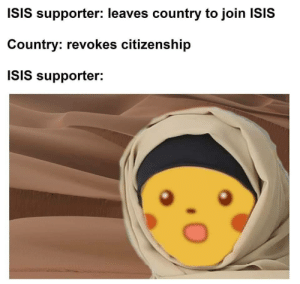 Stupid Bish by ReadItFam MORE MEMES: ISIS supporter: leaves country to join ISIS  Country: revokes citizenship  ISIS supporter: Stupid Bish by ReadItFam MORE MEMES
