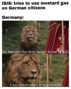 When they try gas attacks: ISIS: tries to use mustard gas  on German citizens  Germany  Do not cite the deep magic to  me Witch  I was there when it was written When they try gas attacks