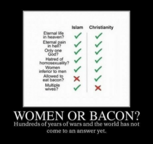 God, Heaven, and Life: Islam Christianity  Eternal life  in heaven?  Eternal pain  in hell?  Only one  God?  Hatred of  homosexuality?  Women  inferior to men  Allowed to  eat bacon?  Multiple  wives?  WOMEN OR BACON?  Hundreds of years of wars and the world has not  come to an answer yet. Women or Bacon?