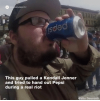 Kendall Jenner, Memes, and Riot: ISNOBIETY  This guy pulled a Kendall Jenner  and tried to hand out Pepsi  during a real riot  Vito Gesualdi @kendalljenner @highsnobiety